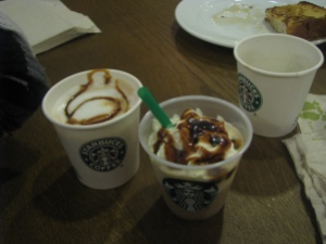 Samples of Creme Brulee Macchiato, Creme Brulee Frappuccino, and the Anniversary Blend