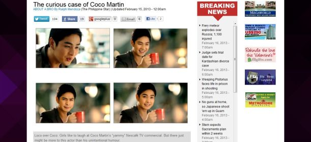 The Curious Case of Coco Martin, which appeared in Young Star's About a Bro column, Feb. 15.