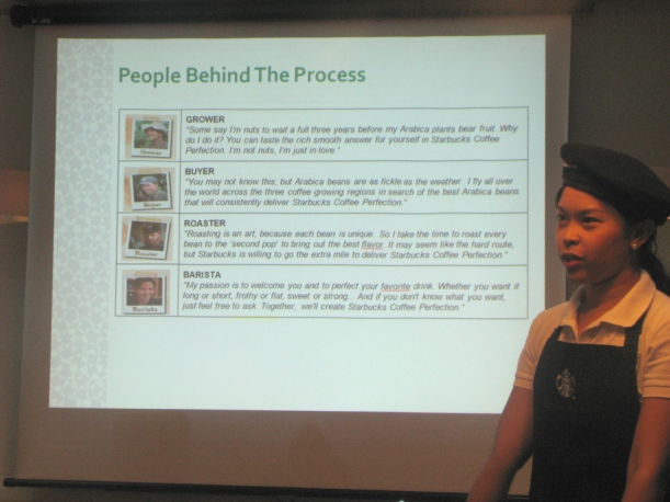 Kareena of the Marketing Team, explaining the journey of the coffee and the people behind the process.