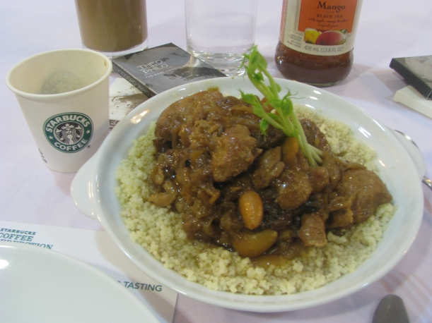 Main Course No. 2: Moorish chicken drizzled with almond sauce, on couscous. Both meals served with Starbucks Colombia Blend.