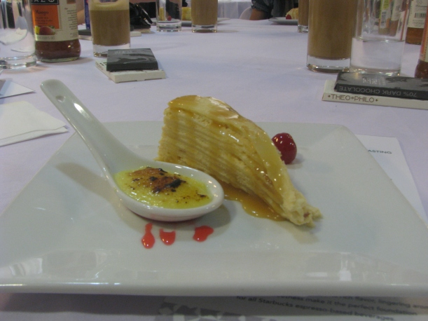 Creme Brulee and Mille Crepe. Was paired with Starbucks Espresso Shot.