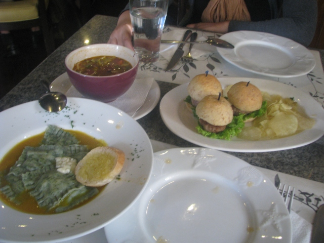 What we ordered: from left, Spinach and Mushroom Ravioli, Stone Soup, and Mini Blue Cheese Burgers.