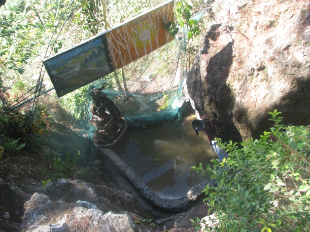There's this sort-of wishing well in Mines View Park. People were throwing coins into it...