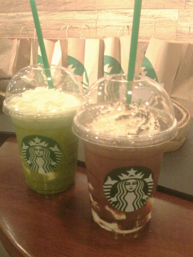 Green Tea White Chocolate Pudding and Dark Mocha White Chocolate Pudding Frappuccino Blended Beverages