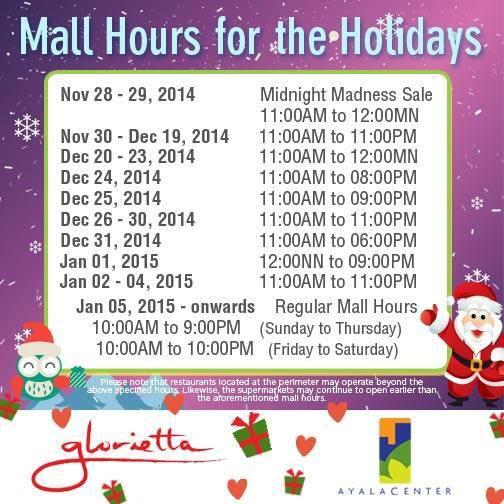 Glorietta Midnight Madness Sale - Mall Hours