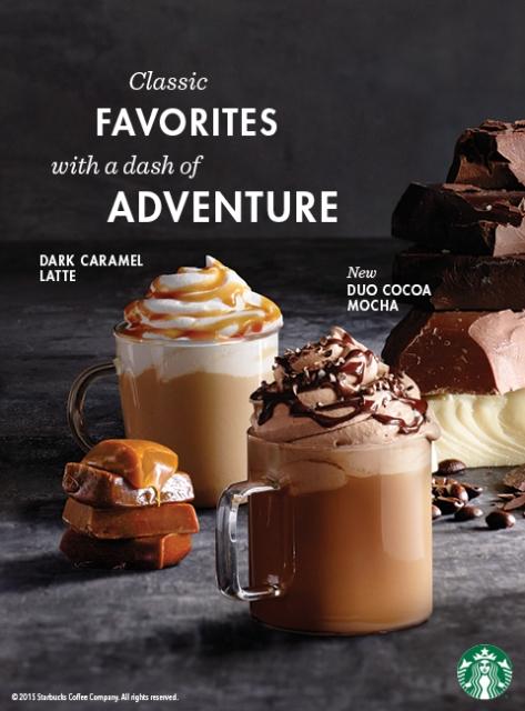 Starbucks Dark Caramel Latte and Duo Cocoa Mocha