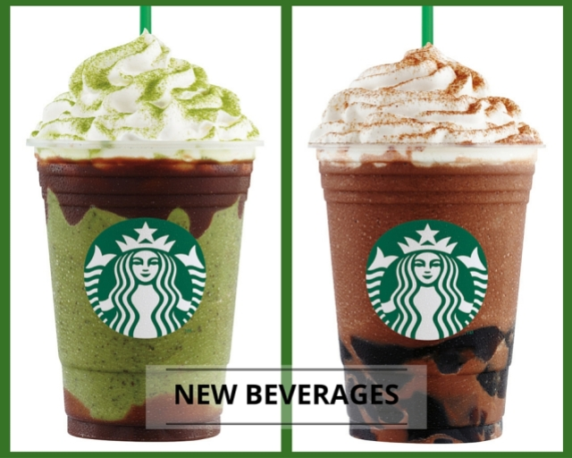 Starbucks Double Chocolate Green Tea Frappuccino and Chocolate Black Tea With Earl Grey Jelly Frappuccino